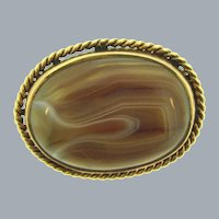 Vintage oval gold tone Brooch with large banded agate stone