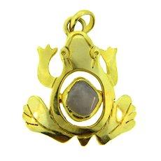 Vintage gold tone figural frog Pendant with quartz stone