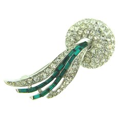 Vintage gorgeous comet shaped Brooch with crystal and emerald green rhinestones