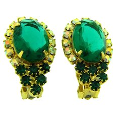 Vintage 1960's clip back Earrings with emerald green and AB rhinestones