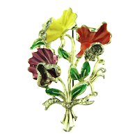 Signed Exquisite exotic flower enamel Brooch