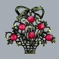 Vintage large figural flower basket Brooch with imitation pearls, crystal rhinestones and plastic moonstone cabochons