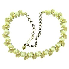 Signed BSK vintage choker link Necklace with imitation pearls and AB rhinestones