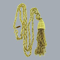 Signed Monet gold tone double chain link Necklace with beehive pendant