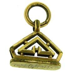 Vintage gold tone Art Deco design initials MJW Pendant or Watch Fob