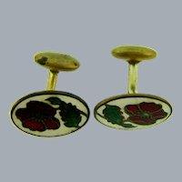Vintage enamel flower Cuff Links