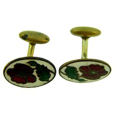 Vintage enamel flower Cuff Links