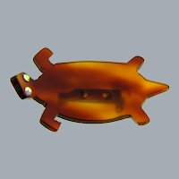 Vintage tortoise shell Lucite figural turtle Brooch with AB rhinestone eyes