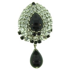 Vintage domed crystal rhinestone Brooch with black glass dangling bead