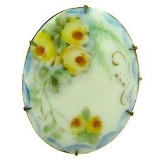 Vintage hand painted on porcelain large floral Brooch