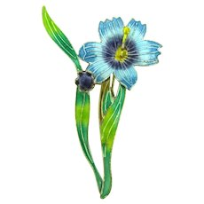 Marked S925 sterling silver flower Brooch with enamel and blue cabochon