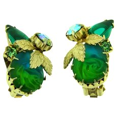 Vintage 1960's clip on Earrings with molded glass flower stone and rhinestones