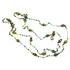 Vintage 46 inch small glass beaded Necklace