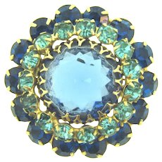 Vintage large tiered circular rhinestone Brooch in blue shades