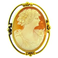 Vintage shell Cameo Brooch in a gold tone beaded frame