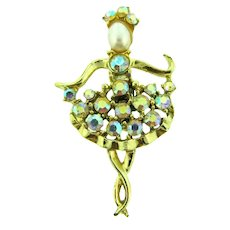 Vintage 1960's figural Ballerina Brooch with AB rhinestones and a faux pearl head