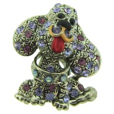 Vintage small Scatter Pin figural dog Brooch with rhinestones and enamel