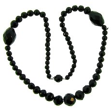 Vintage choker length black faceted glass bead Necklace