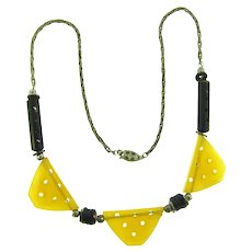 Vintage Art Deco style choker length Necklace with plastic triangles, rods and glass disks