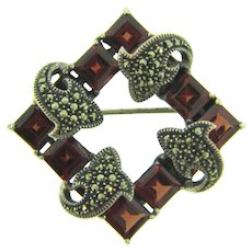 Marked Sterling silver square Brooch with garnet stones and marcasites