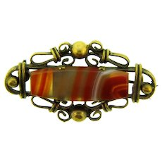 Vintage early gold tone Brooch with banded agate stone