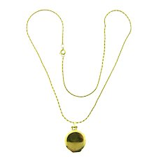 Vintage gold tone chain link Necklace with small pendant locket
