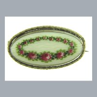 Stamped Made in Czechoslovakia with oval porcelain hand painted floral Brooch