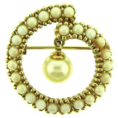 Vintage small Scatter Pin with faux pearls and faux pearl drop