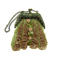 Vintage crocheted and beaded small coin Purse
