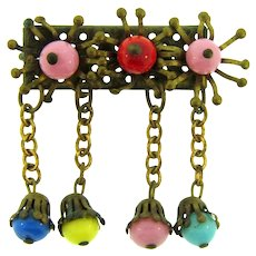 Vintage Bar Pin with multicolored beads