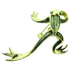 Signed Gerry's vintage figural large frog Brooch with green enamel