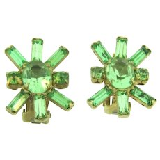 Vintage light green rhinestone clip on Earrings