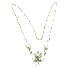 Signed AmLee sterling silver filigree pendant Necklace with rhinestones