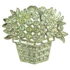 Vintage figural flower basket Brooch with crystal rhinestones