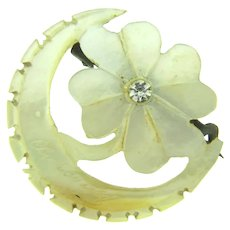 Vintage Mother of Pearl Scatter Pin of flower and crescent moon