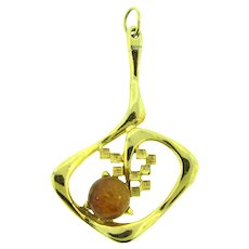 Made in Austria modernistic gold tone Pendant with art glass cabochon