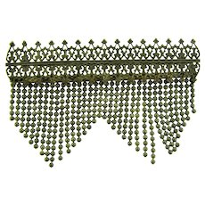 Vintage long Bar Pin with dangling beaded strands