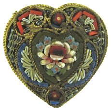 Made in Italy early mosaic heart shaped Scatter Pin