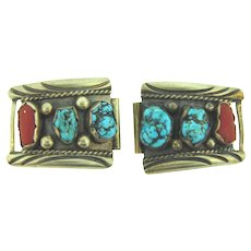 Vintage watch band parts with large turquoise and coral stones