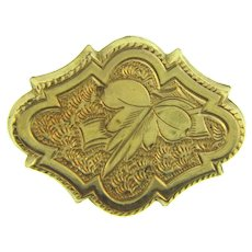 Vintage small gold filled early Scatter Pin with floral chased design