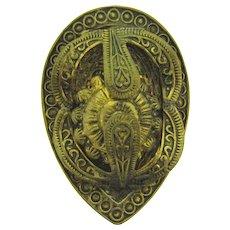 Vintage pat'd date to the 1930's Etruscan design gold tone Dress Clip