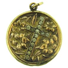 Vintage gold filled converted Pendant with cross and repousse lilies design