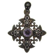 Marked 900 silver Jerusalem silver Cross Pendant with violet gemstone
