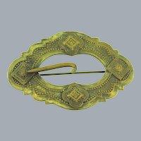 Vintage ornate repousse design gold tone Sash Pin