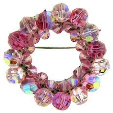 Vintage crystal beaded circular Brooch in pink shades