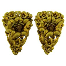Vintage pair of composition gilded floral Dress Clips