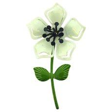 Vintage 1960's metal enamel flower Brooch