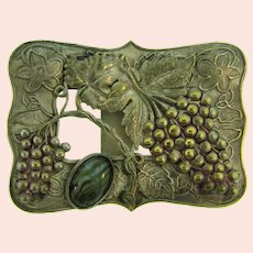 Vintage silver tone grape pattern Belt Buckle with art glass cabochon