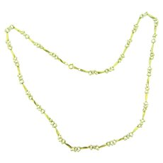 Vintage gold tone link Necklace with imitation pearls