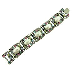 Vintage chunky link Bracelet with rhinestones and imitation pearl cabochons